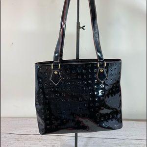 Arcadia black patent leather shoulder purse